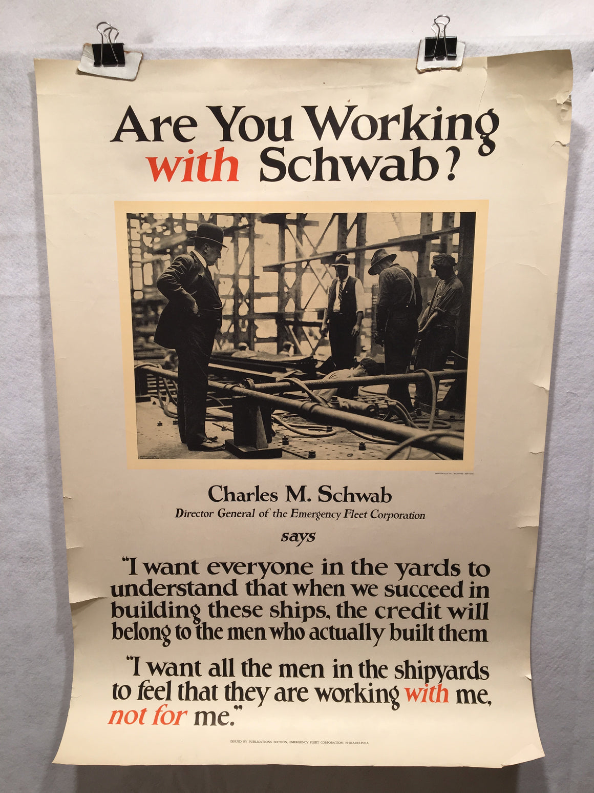 "WW1 ""Are you Working with Schwab?"" 1917 Propaganda Poster (22"" X 32"")"