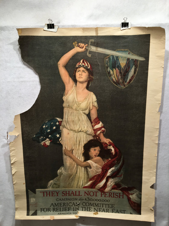 "WW1 ""They Shall Not Perish"" 1918 Propaganda Poster (30"" X 39"")"