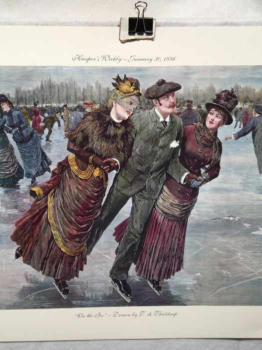 "On the Ice - T. de Thulstrup - Harpers Weekly - Lithograph Art Print 17"" x 23""   - TvMovieCards.com"