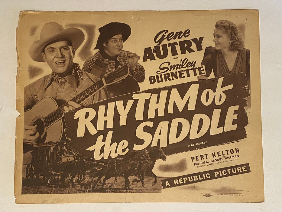 1938 Rhythm of the Saddle Lobby Card 11 x 14 Gene Autry, Smiley Burnette   - TvMovieCards.com