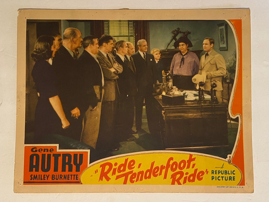 1940 Ride, Tenderfoot, Ride Lobby Card 11 x 14 Gene Autry, Smiley Burnette   - TvMovieCards.com