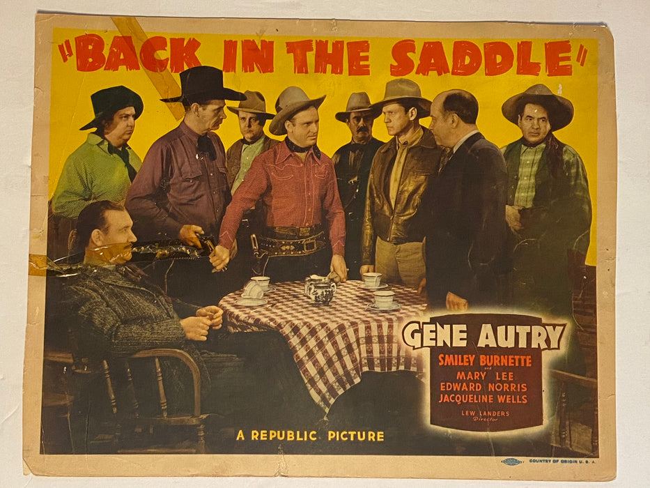 1941 Back in the Saddle Lobby Card 11x14  Gene Autry, Smiley Burnette, Mary Lee   - TvMovieCards.com
