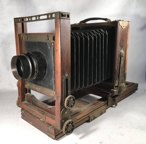 Antique Folding Studio Field Camera Wollensak Versar 5 x 7 Portrait & View Lens   - TvMovieCards.com