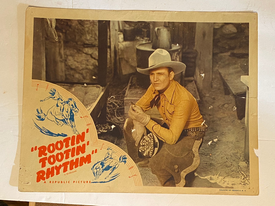 R1940s Rootin' Tootin' Rhythm Lobby Card 11x14 Gene Autry Smiley Burnette Armida   - TvMovieCards.com
