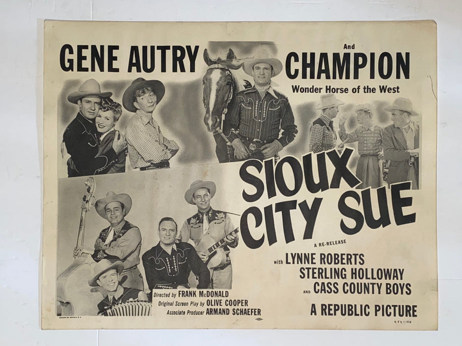 1946 Sioux City Sue #1 11 x 14 Lobby Card Gene Autry, Champion Jr.   - TvMovieCards.com