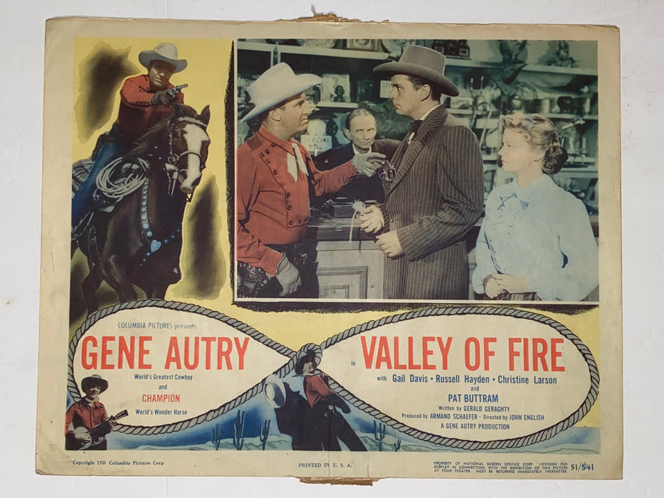 1951 Valley of Fire 11x14 Lobby Card Gene Autry, Champion, Gail Davis   - TvMovieCards.com