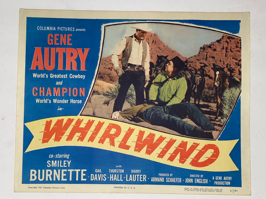 1951 Whirlwind 11x14 Title Lobby Card Gene Autry, Champion, Gail Davis   - TvMovieCards.com