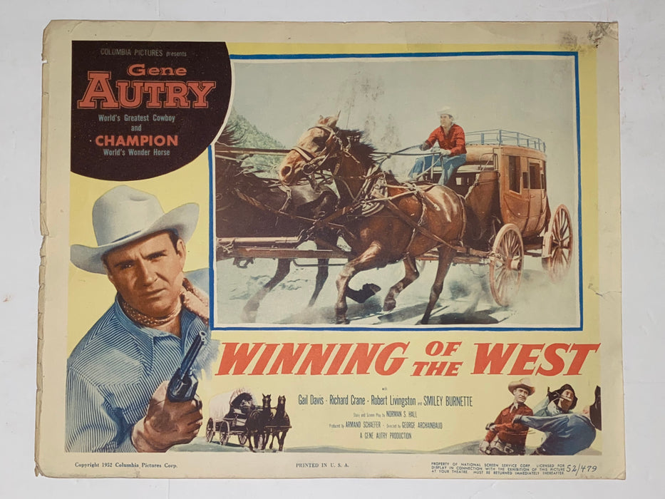 1953 Winning of the West 11x14 Title Lobby Card Gene Autry, Champion, Gail Davis   - TvMovieCards.com