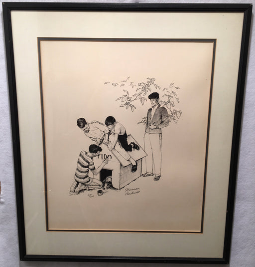"Norman Rockwell Fido's Dog House Framed Signed Lithograph Print 25 x 29""   - TvMovieCards.com"