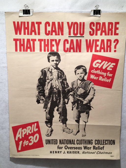 "What Can You Spare That They Can Wear? WWII Propaganda OWI Poster (22"" X 28"")   - TvMovieCards.com"