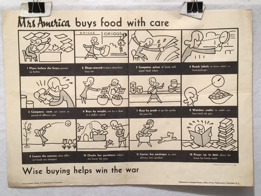 """Mrs America Buys Food With Care"" WWII Propaganda Poster (14"" X 20"")   - TvMovieCards.com"