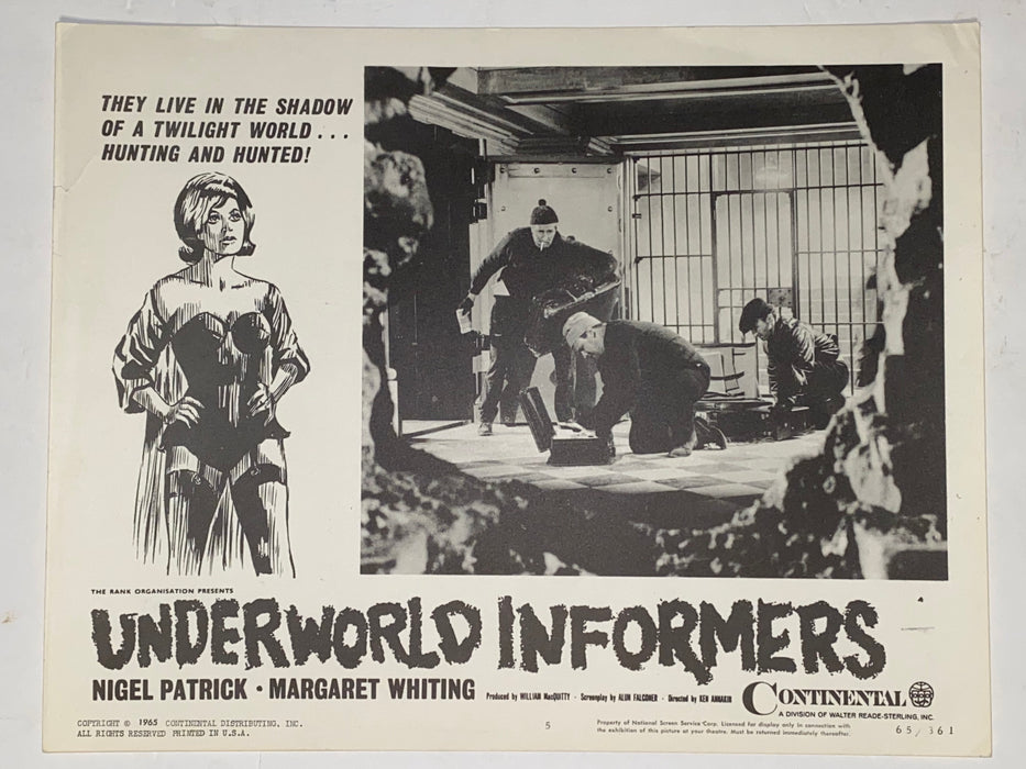 1961 Underworld Informers 11x14 Lobby Card #5 Nigel Patrick, Margaret Whiting   - TvMovieCards.com