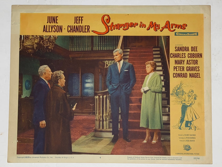 1959 Stranger in My Arms 11x14 Lobby Card #4  June Allyson, Jeff Chandler   - TvMovieCards.com