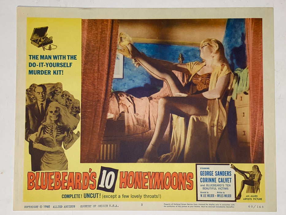1960 Bluebeard's Ten Honeymoons 11x14 Lobby Card #5 George Sanders, Calvet   - TvMovieCards.com