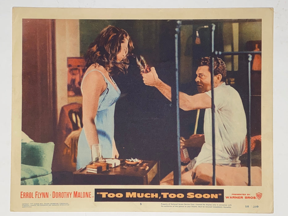 1958 Too Much, Too Soon 11x14 Lobby Card #5 Dorothy Malone, Errol Flynn   - TvMovieCards.com