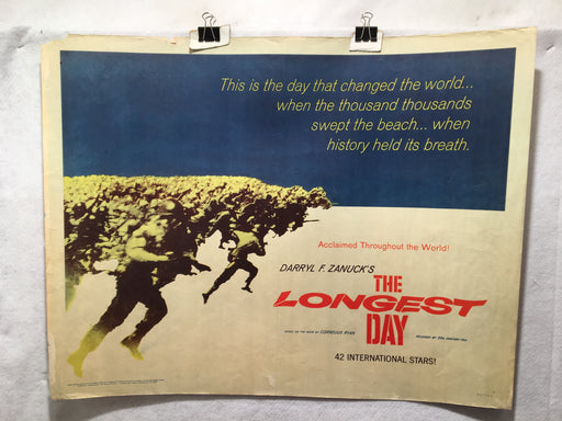 1962 The Longest Day Original Half Sheet Movie Poster John Wayne 13 x 30   - TvMovieCards.com