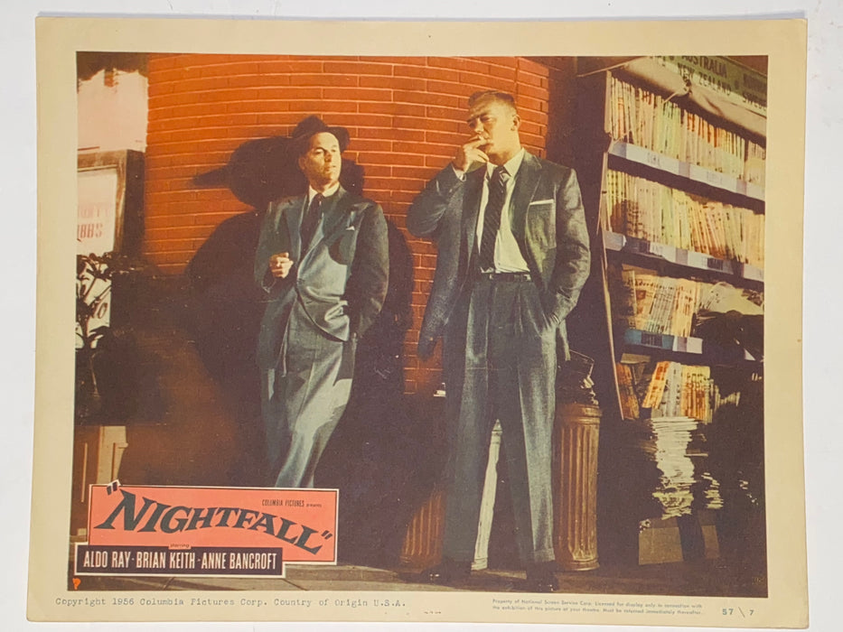 1956 Nightfall 11x14 Lobby Card #7 Aldo Ray, Anne Bancroft, Brian Keith   - TvMovieCards.com
