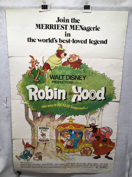 1973 Robin Hood Original 1SH Walt Disney Movie Poster 27 x 41   - TvMovieCards.com