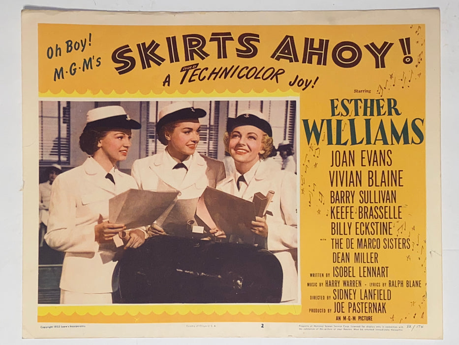 1952 Skirts Ahoy! 11x14 Lobby Card #2 Esther Williams, Joan Evans, Vivian Blaine   - TvMovieCards.com