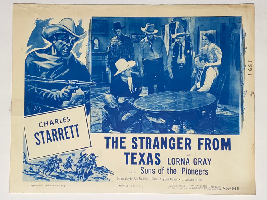 1953 The Stranger from Texas 11x14 Lobby Card Charles Starrett, Lorna Gray, Richard Fiske   - TvMovieCards.com