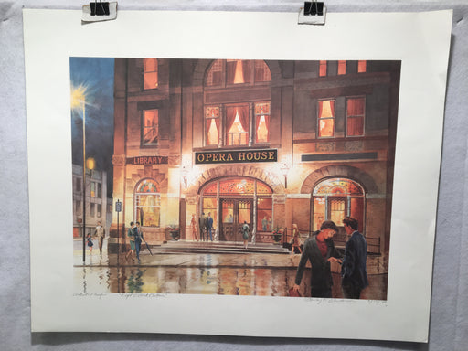"Stanley F Anderson ""Eight O'Clock Curtain"" Woodstock IL Opera House Lithograph   - TvMovieCards.com"
