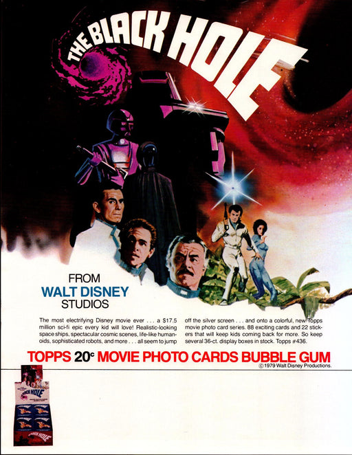 The Black Hole Trading Card Dealer Sell Sheet Sale Ad Topps 1979 Disney   - TvMovieCards.com