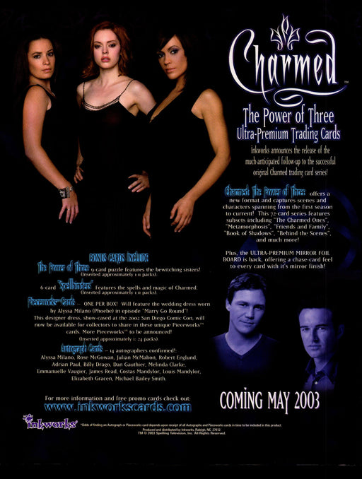 Charmed Power of Three 3 Trading Card Dealer Sell Sheet Promotional Sale 2003   - TvMovieCards.com