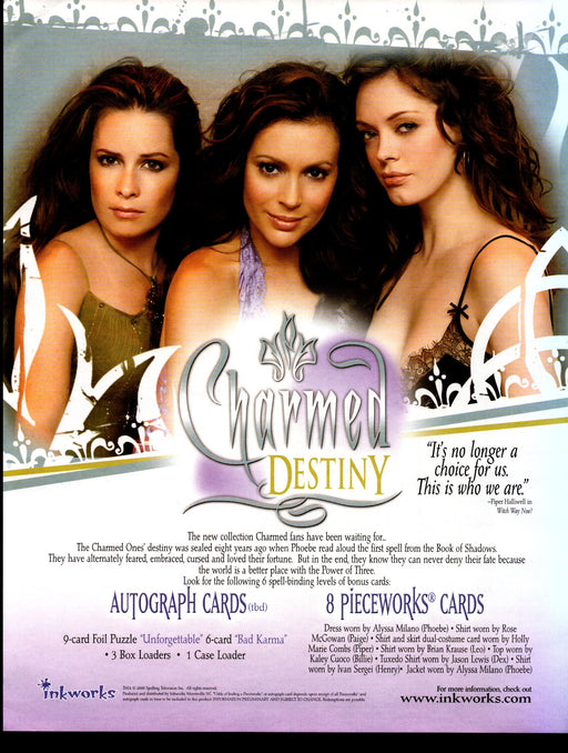 Charmed Destiny Trading Card Dealer Sell Sheet Sale Ad Inkworks 2006   - TvMovieCards.com