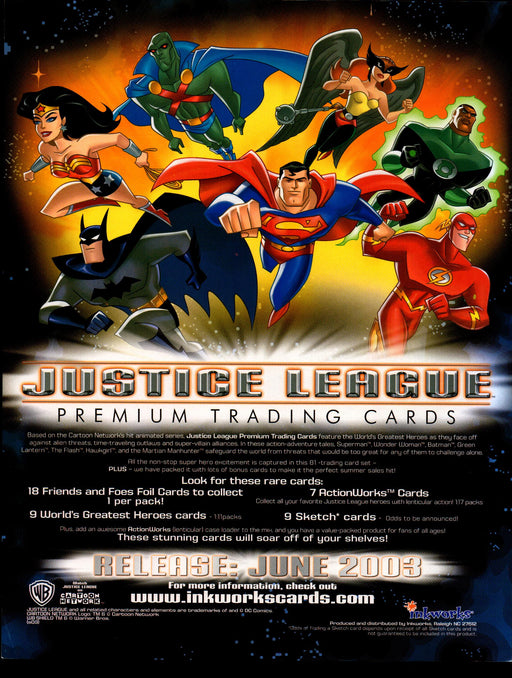 Justice League Trading Card Dealer Sell Sheet Sale Ad Inkworks 2003   - TvMovieCards.com