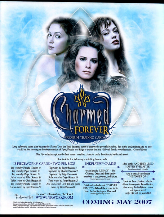 Charmed Forever Trading Card Dealer Sell Sheet Promotional Sale 2007   - TvMovieCards.com
