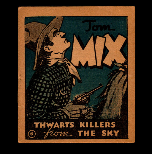"Tom Mix ""Thwarts Killers from Sky"" Adventure Stories #6 1934 National Chicle Gum   - TvMovieCards.com"