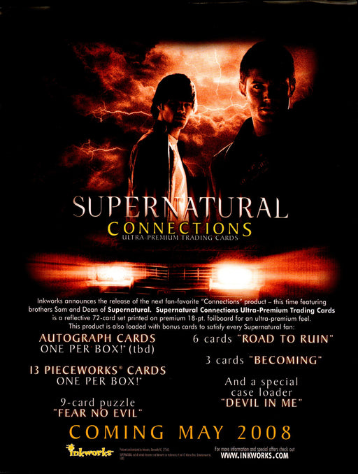 Supernatural Connections Trading Card Dealer Sell Sheet Promotional Sale 2008   - TvMovieCards.com