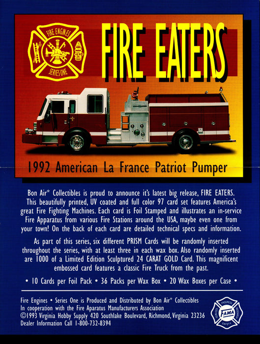 Fire Engines Series 1 Trading Card Dealer Sell Sheet Sale Ad 1993 Bon Air   - TvMovieCards.com