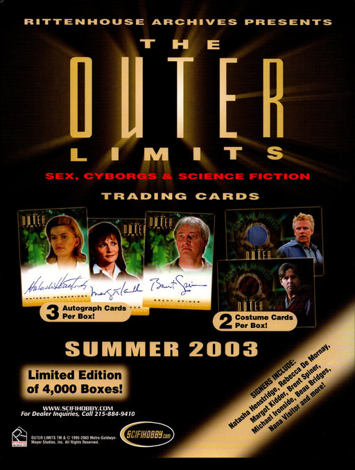 Outer Limits Sex, Cyborgs & Scifi Trading Card Dealer Sell Sheet Sale Ad 2003   - TvMovieCards.com