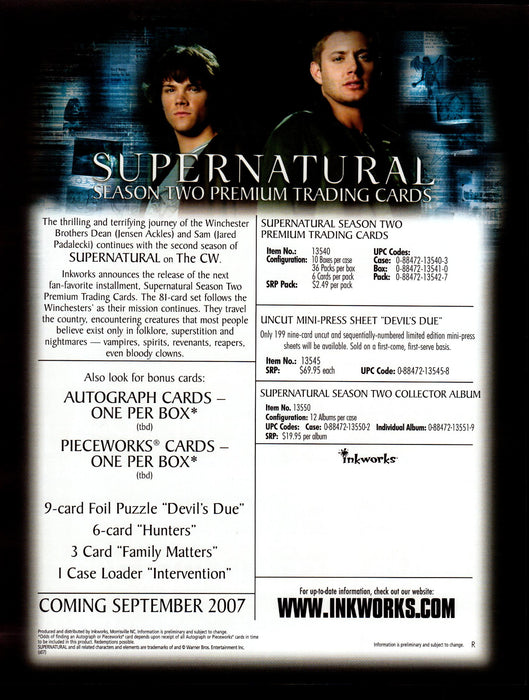 Supernatural Season Two 2 Trading Card Dealer Sell Sheet Promotional Sale 2007   - TvMovieCards.com