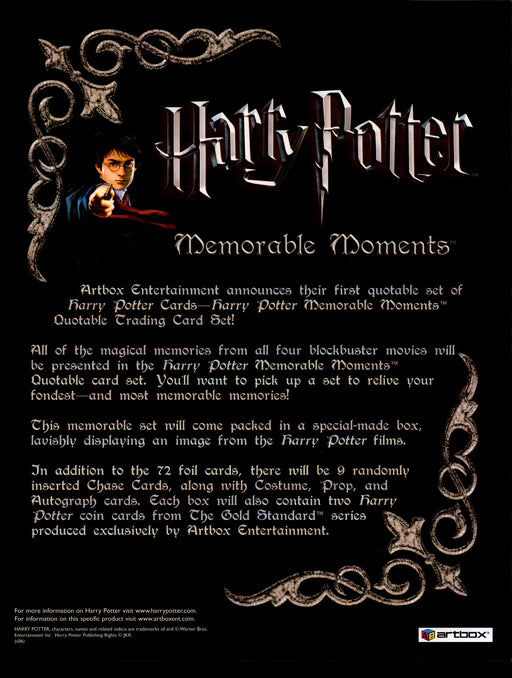Harry Potter Memorable Moments Trading Card Dealer Sell Sheet Sale Ad 2006   - TvMovieCards.com