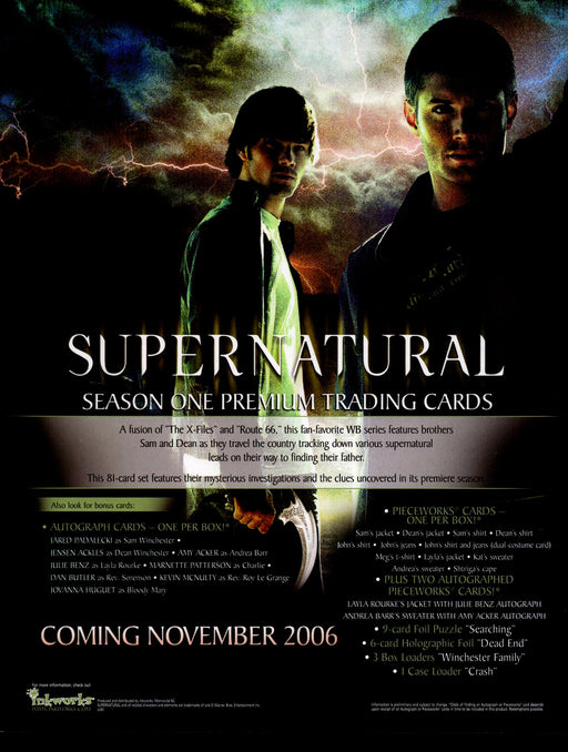 Supernatural Season One 1 Trading Card Dealer Sell Sheet Promotional Sale 2006   - TvMovieCards.com