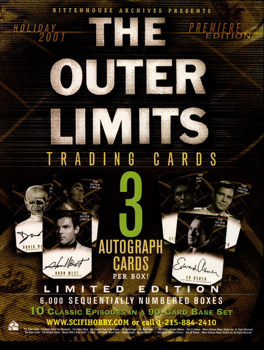 The Outer Limits Premiere Edition Trading Card Dealer Sell Sheet Sale Ad 2001   - TvMovieCards.com