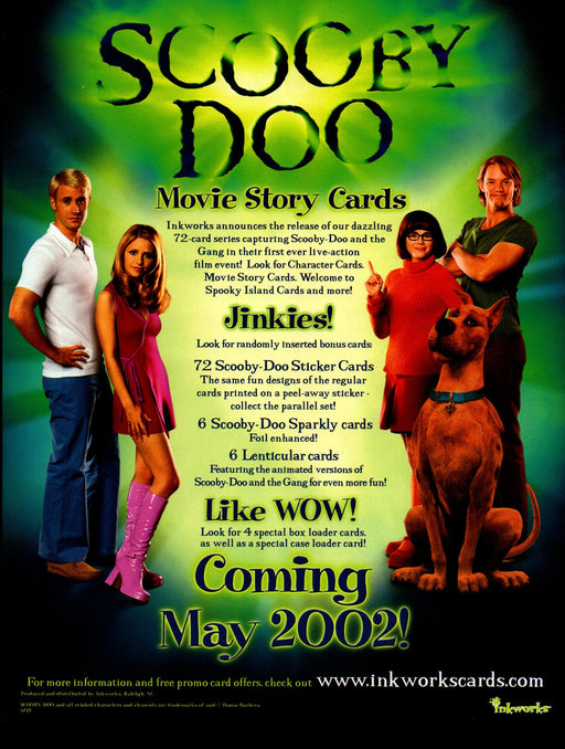 Scooby Doo Movie 1 Trading Card Dealer Sell Sheet Sale Ad Inkworks 2002   - TvMovieCards.com