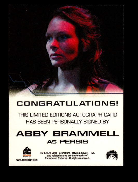 Star Trek Enterprise Season Four 4 Abby Brammell as Persis Autograph Card   - TvMovieCards.com