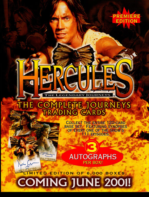 Hercules Trading Card Dealer Sell Sheet Sale Ad Rittenhouse 2001 Kevin Sorbo   - TvMovieCards.com