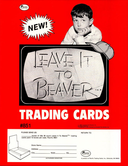 Leave it to Beaver Trading Cards Dealer Sell Sheet Sale Ad Pacific 1983   - TvMovieCards.com