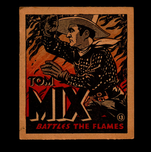 "Tom Mix ""Battles the Flames"" Adventure Stories #13 1934 National Chicle Gum   - TvMovieCards.com"