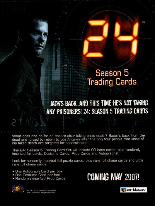 24 Season 5 Trading Card Dealer Sell Sheet Promotional Sale Artbox 2007   - TvMovieCards.com