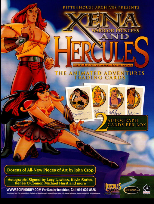 Xena & Hercules Animated Adventures Trading Card Dealer Sell Sheet Sale Ad 2005   - TvMovieCards.com
