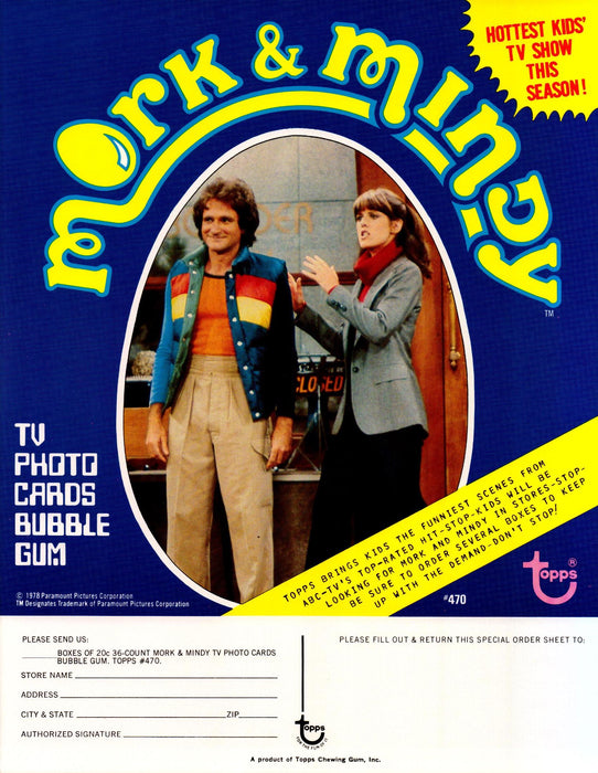 Mork & Mindy Trading Cards Dealer Sell Sheet Sale Ad Topps 1978 Robin Williams   - TvMovieCards.com