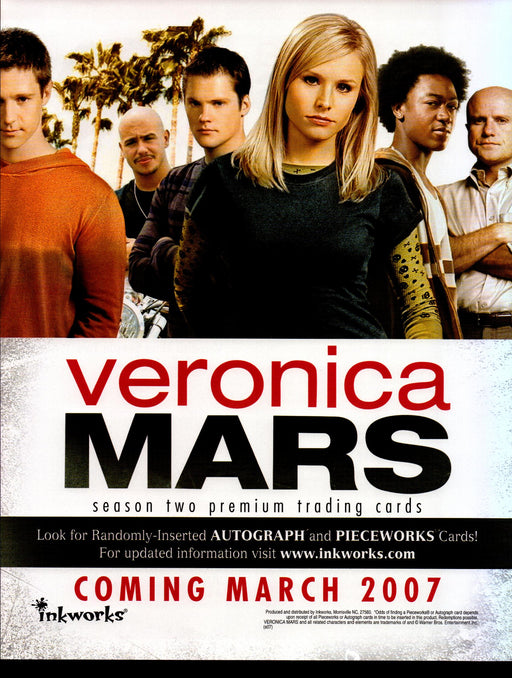 Veronica Mars Season Two 2 Trading Card Dealer Sell Sheet Promotional Sale 2007   - TvMovieCards.com