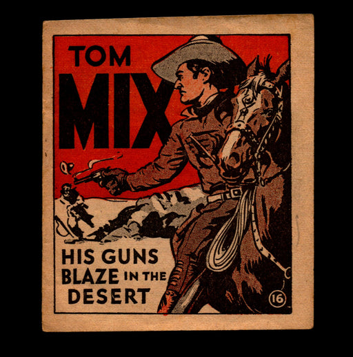 "Tom Mix ""His Guns Blaze Desert"" Adventure Stories #16 1934 National Chicle Gum   - TvMovieCards.com"