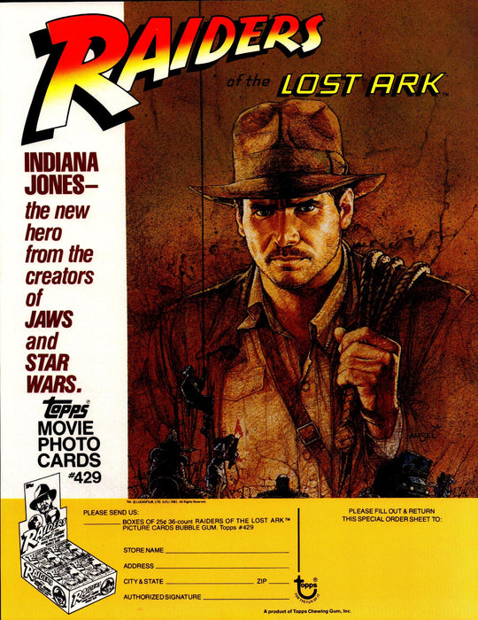 Indiana Jones Raiders of the Lost Ark Trading Cards Dealer Sell Sheet Topps 1981   - TvMovieCards.com