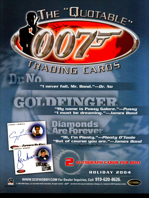 The Quotable James Bond 007 Trading Card Dealer Sell Sheet Sale Ad 2004   - TvMovieCards.com